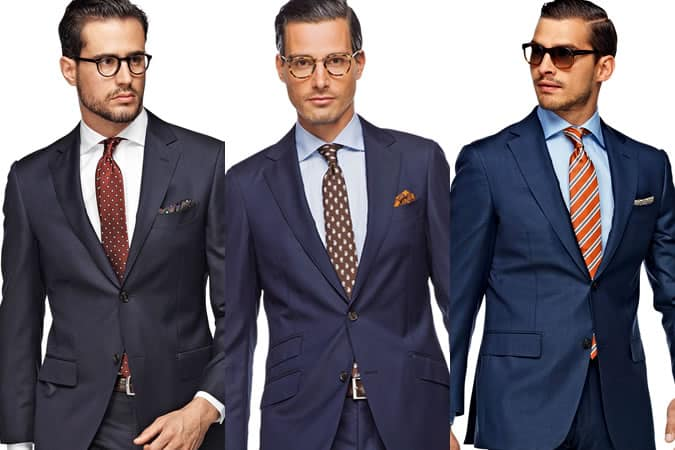 Men's Navy Suit - Three Different Shirt & Tie Combinations