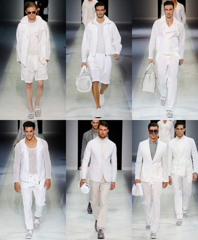 Emporio Armani All-White Outfits: SS14 Menswear Runways