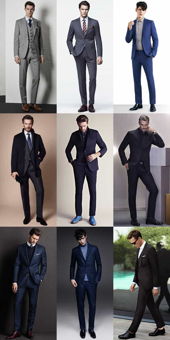 Men's Slim/Skinny Cut Suits Outfit Inspiration Lookbook