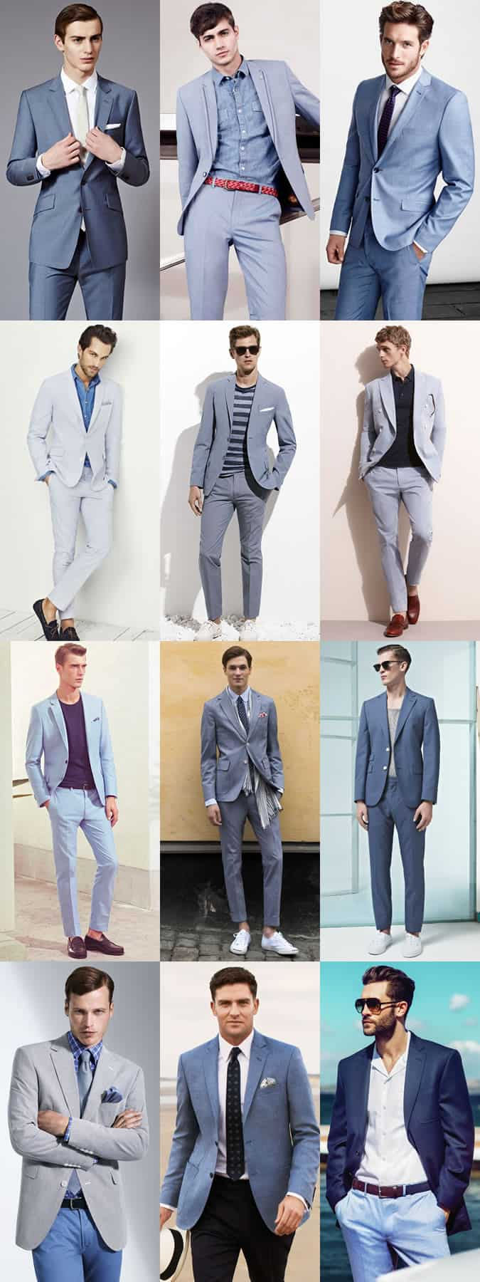 Light/Petrol Blue Suits for Men - Outfit Inspiration Lookbook