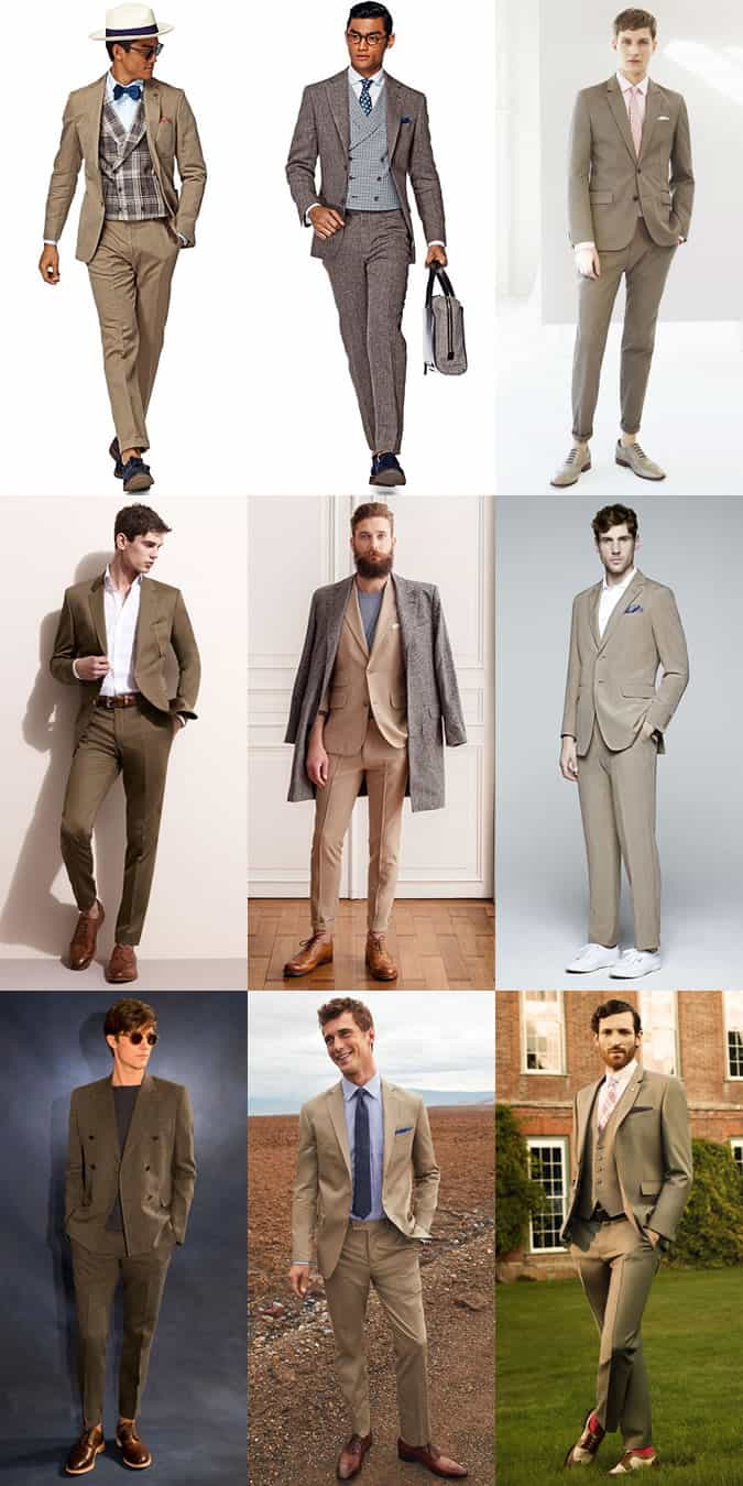 Men's Brown Linen Suits Outfit Inspiration Lookbook