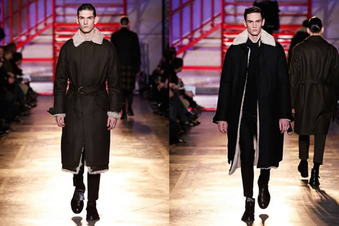 Men's Military Shearling Coats and Jackets On Cerruti AW14 Menswear Runway