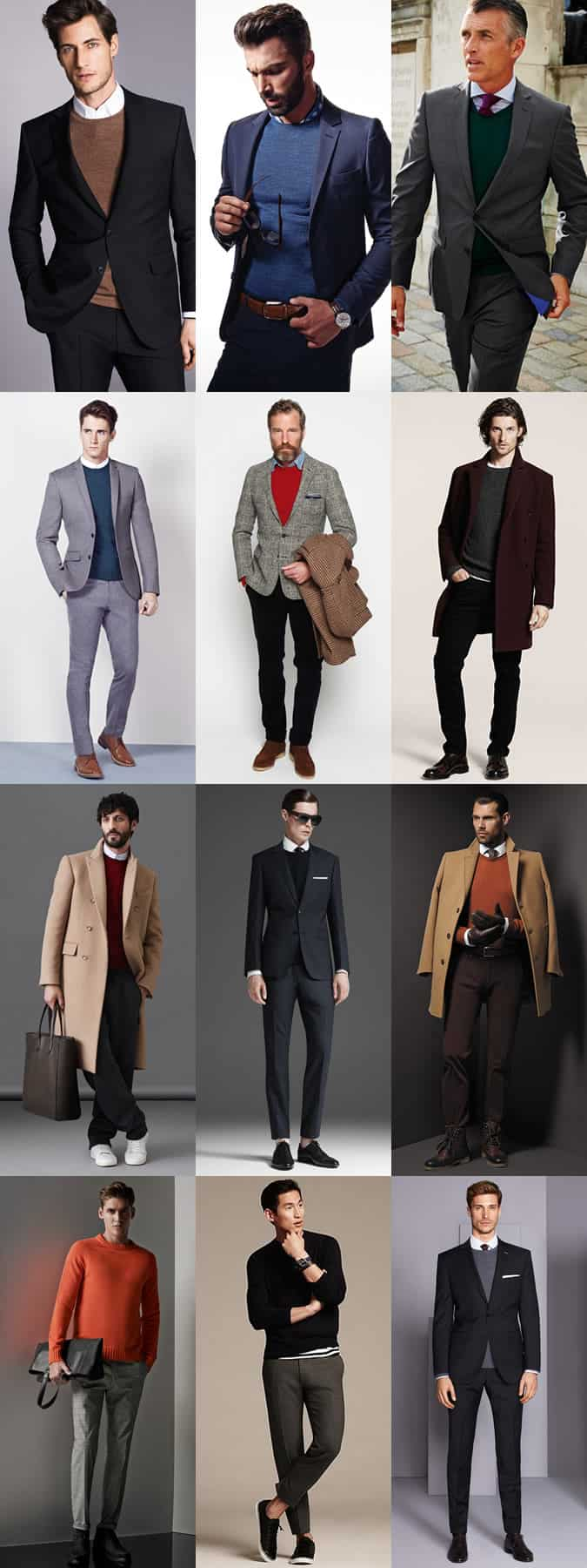 Men's Smart Crew Neck Jumpers Paired With Tailoring and Suits - Outfit Inspiration Lookbook