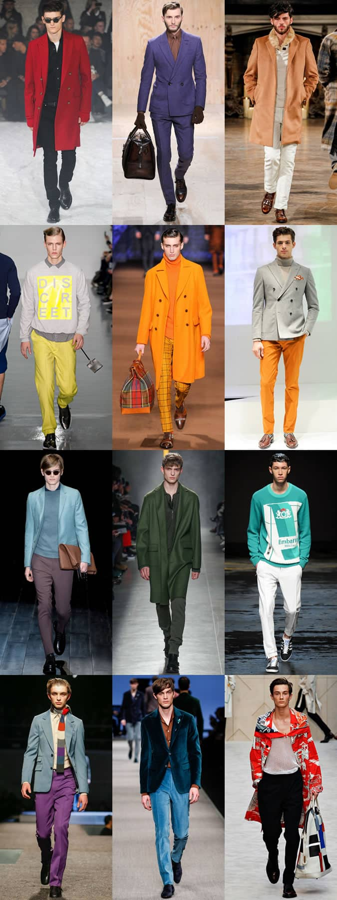 Men's Bold Coloured Pieces On AW14 Menswear Runways