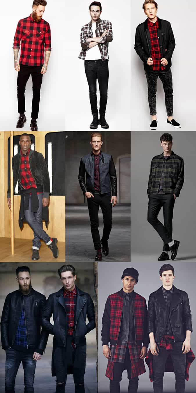Red Black Check Shirt Men