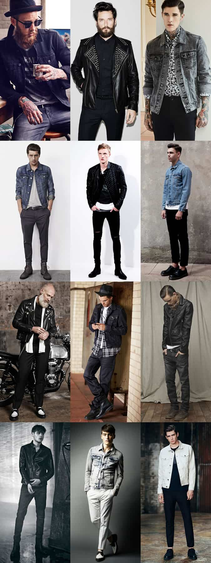 Men's Leather Biker Jackets & Denim Jackets - Modern Rockabilly-Inspired Outfit Inspiration Lookbook