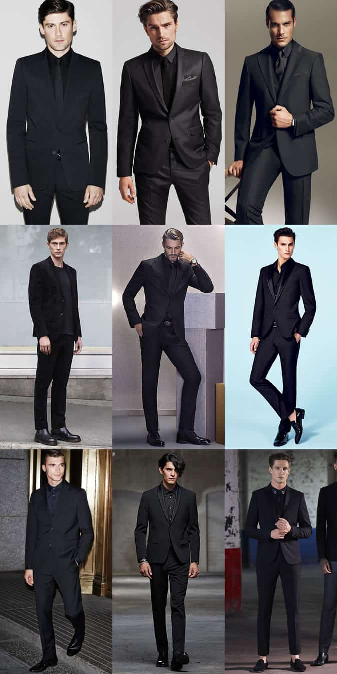 Men S Black Suits With Shirts And Ties Outfit Inspiration Lookbook