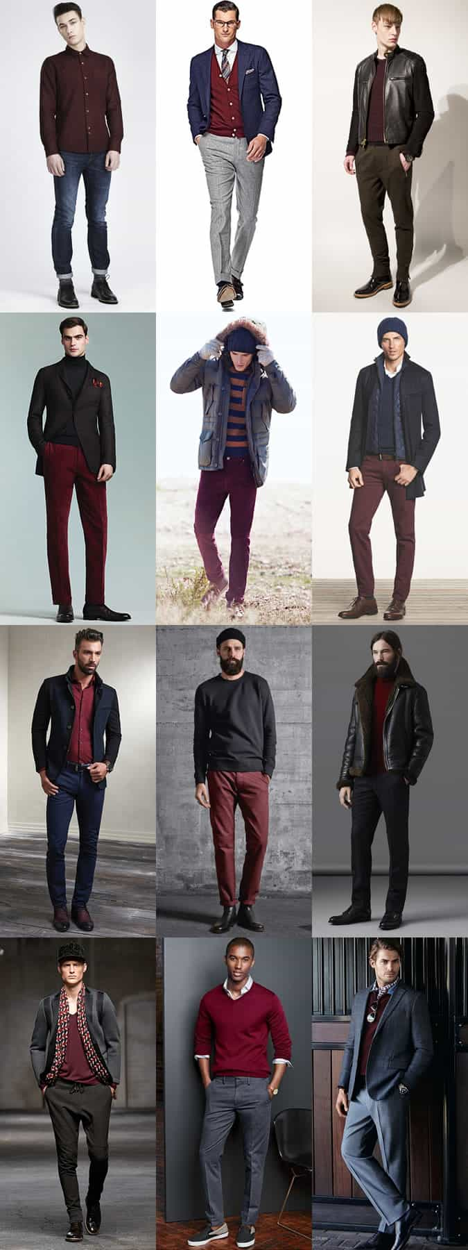 Men's Burgundy Staples (Knitwear, Shirts, T-Shirts, Trousers/Chinos) - Autumn/Winter Outfit Inspiration Lookbook
