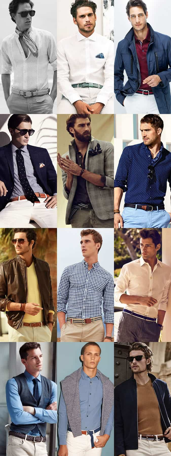 Men's Woven, Webbed, Nylon, Canvas and Braided Belts Outfit Inspiration Lookbook: Spring/Summer 2015