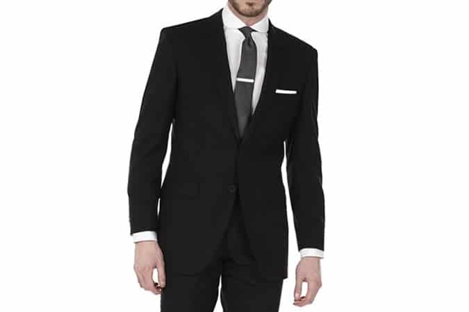 TM Lewin Super Black 2-Button Slim Fit Suit
