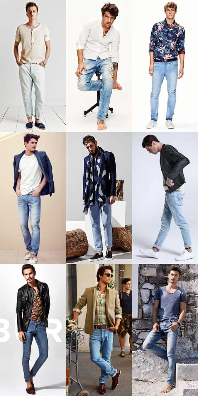 Men's Bohemian Style Light Wash Jeans Outfit Inspiration Lookbook