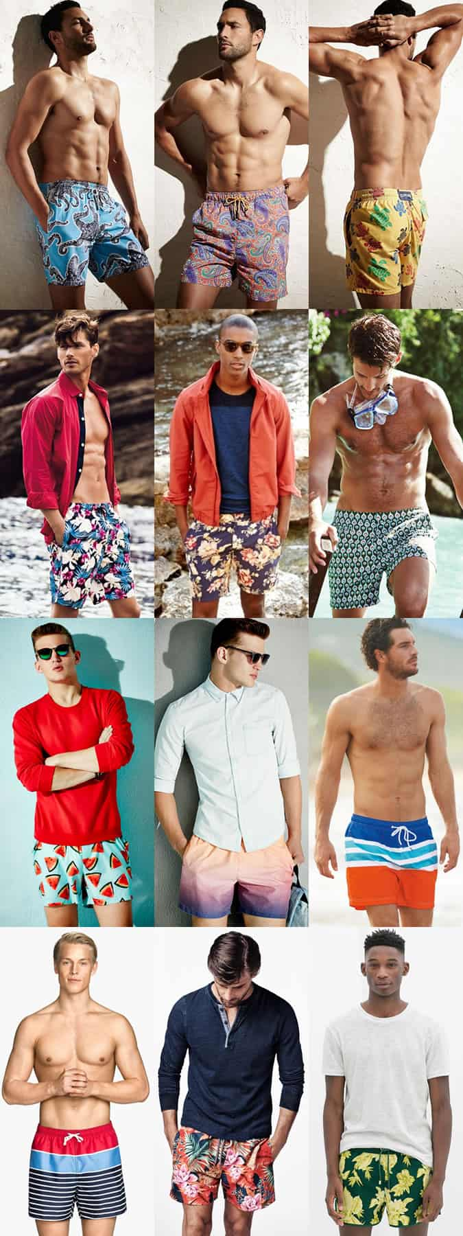 Men's Bold Patterned and Print Swim Shorts Lookbook