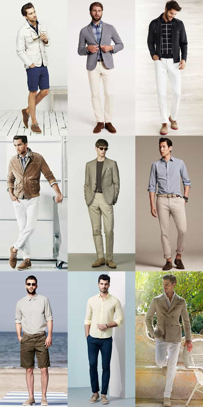Men's Beige and Brown Suede Derby Shoes Spring/Summer Outfit Inspiration Lookbook