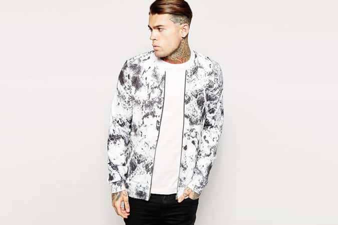 ASOS Bomber Jacket With Printed Poly Tricot