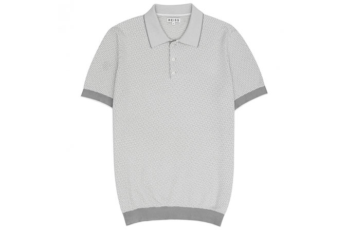 FOLIO GEOMETRIC KNITTED POLO SHIRT GREY