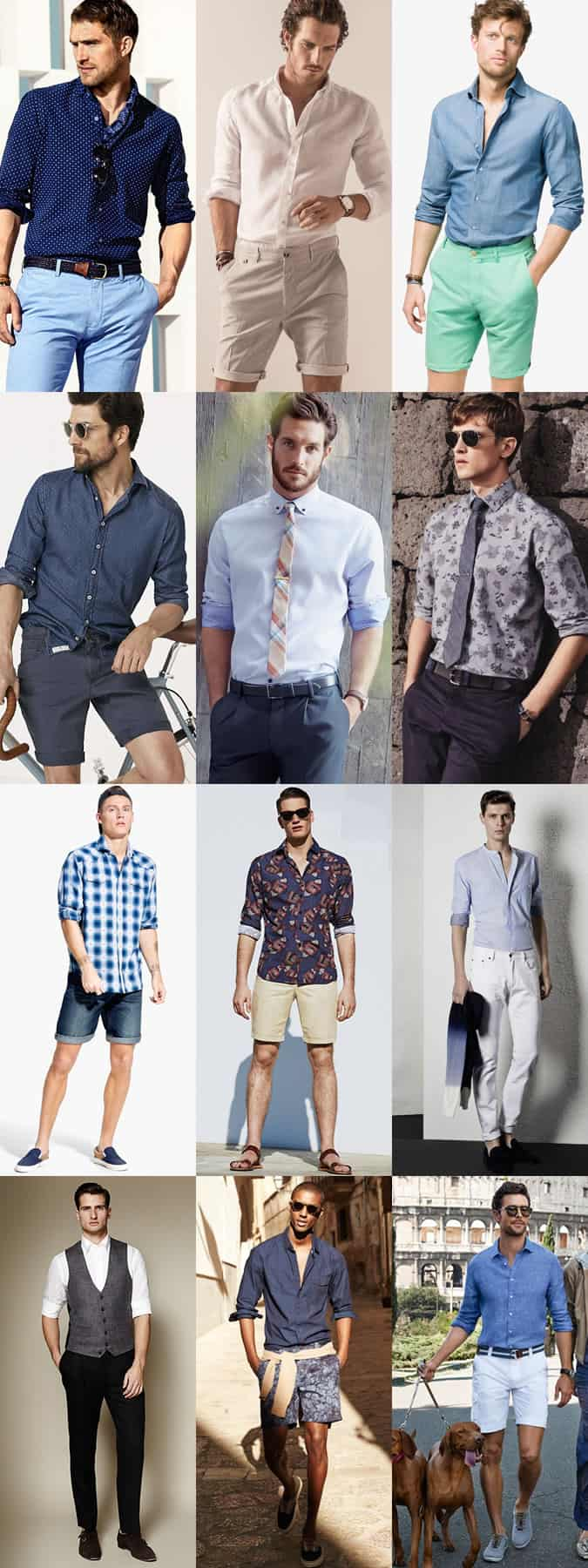 Men's Long-Sleeved Shirts With Sleeves Rolled Up Outfit Inspiration Lookbook