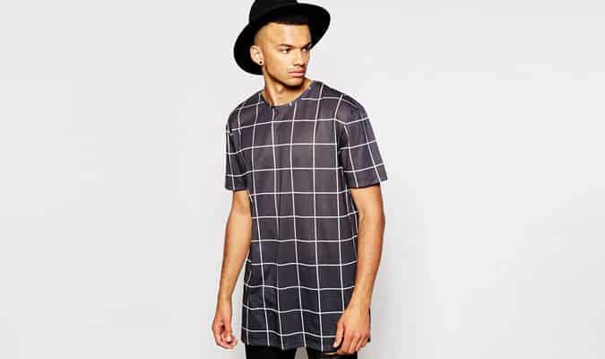 Another Influence Longline Windowpane Check T-Shirt