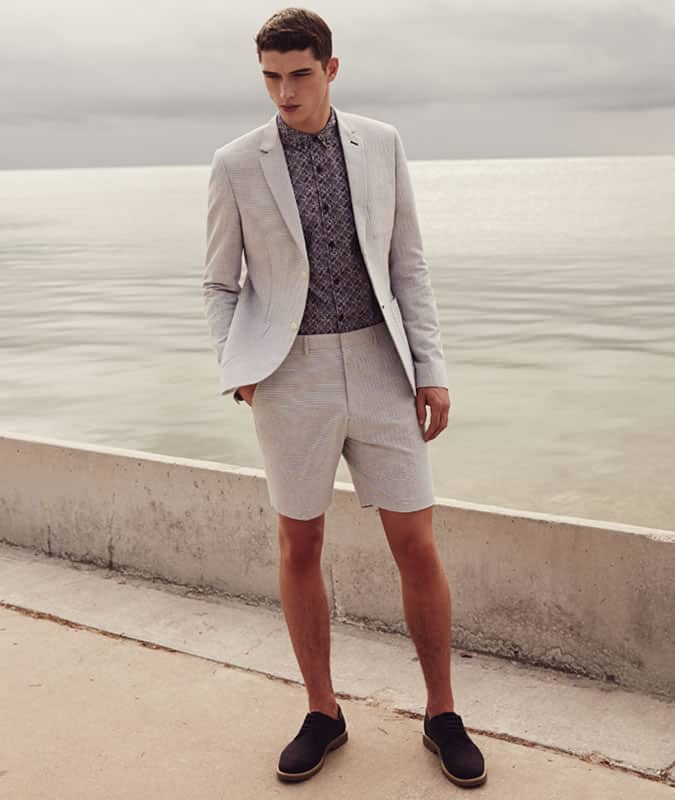 Men's Shorts Suit With Suede Derby Shoes Outfit Inspiration
