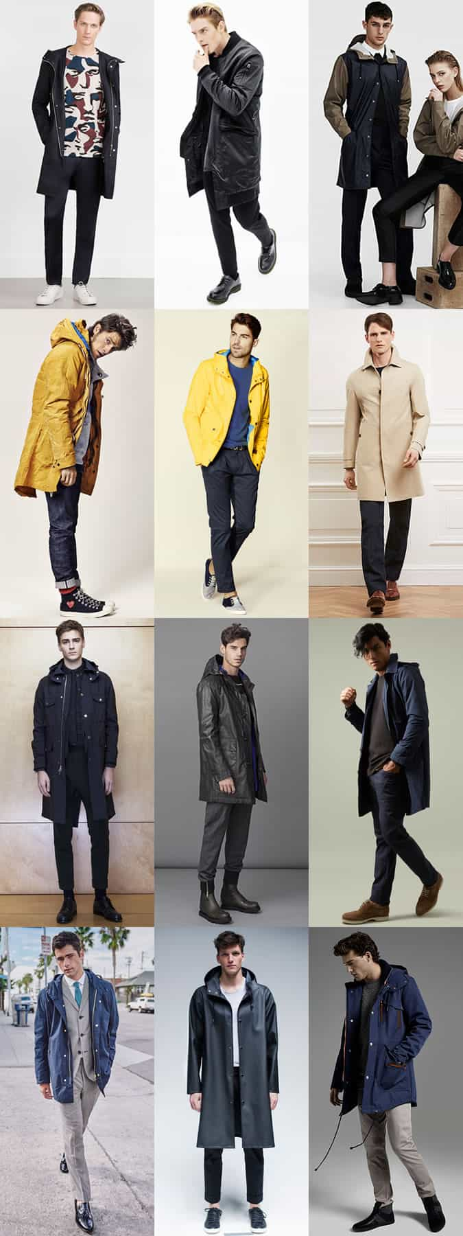 Men's Waterproof Rain Coats Autumn Outfit Inspiration Lookbook