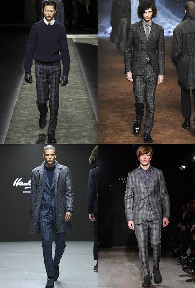 Tonal Check Tailoring On AW15 Menswear Runways