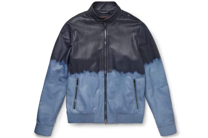 Tod's Slim-Fit Dégradé Waxed-Leather Bomber Jacket