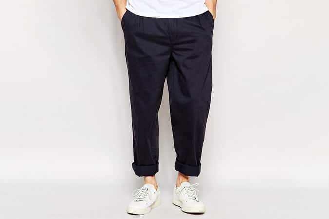 ADPT Pleated Chinos In Wide Leg Fit