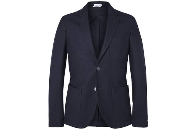 Gant Rugger Navy Slim-Fit Cotton-Piqué Blazer