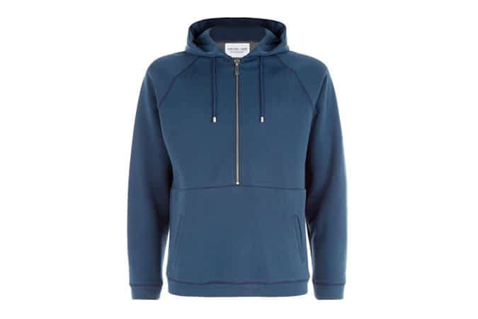 SLATE BLUE MID ZIP HOODED SWEAT
