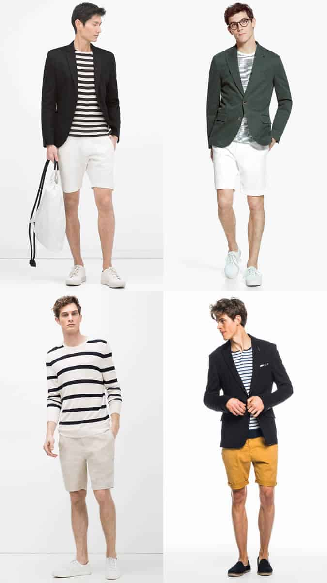 Men's Chino Shorts, Breton Top and Blazer Summer Fashion/Style Outfit Inspiration Lookbook
