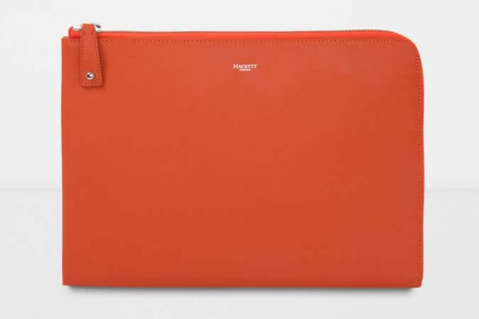 Hackett Orange Leather Document Wallet