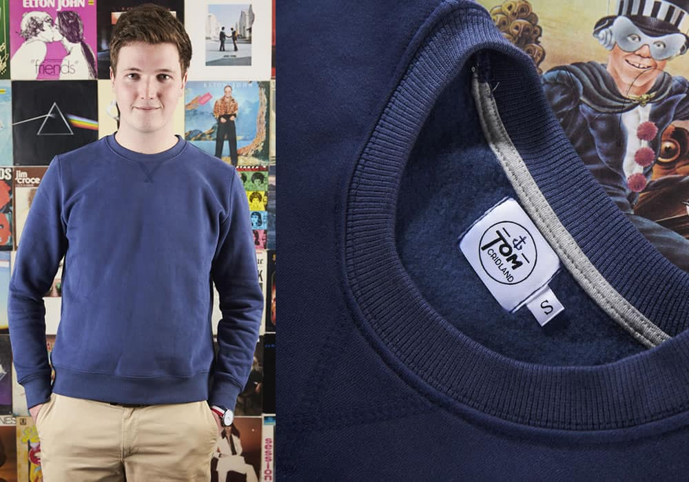 Tom Cridland offers sweatshirts, blazers and T-shirts guaranteed for 30 years