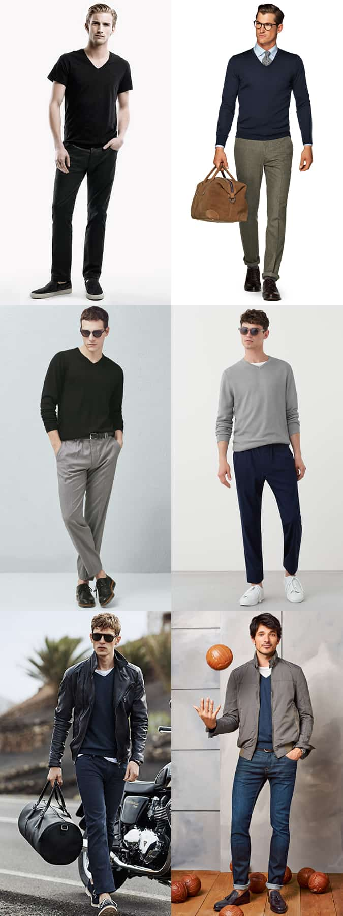 Men's V-Neck Jumpers and T-Shirts Outfit Inspiration Lookbook