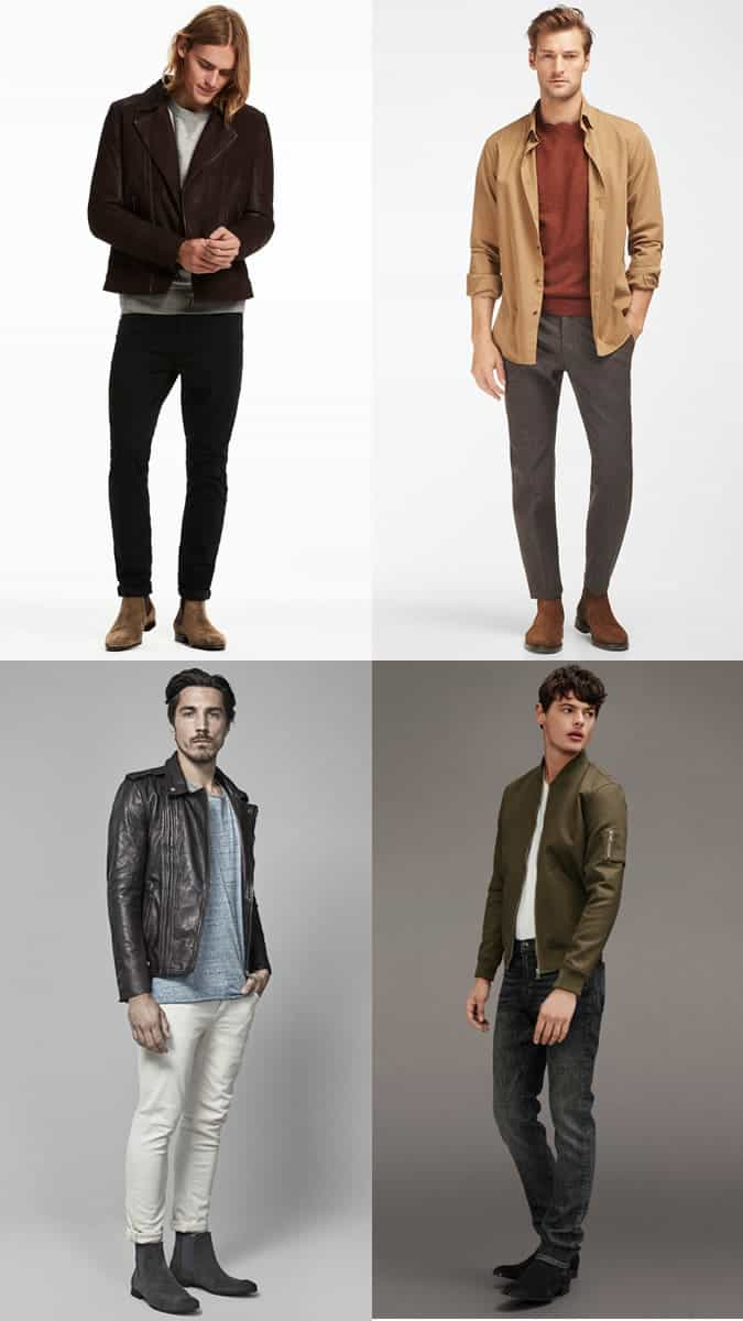 Men's Suede Chelsea Boots Outfit Inspiration Lookbook