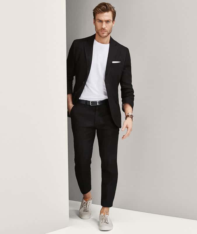 White Tee + Black Suit
