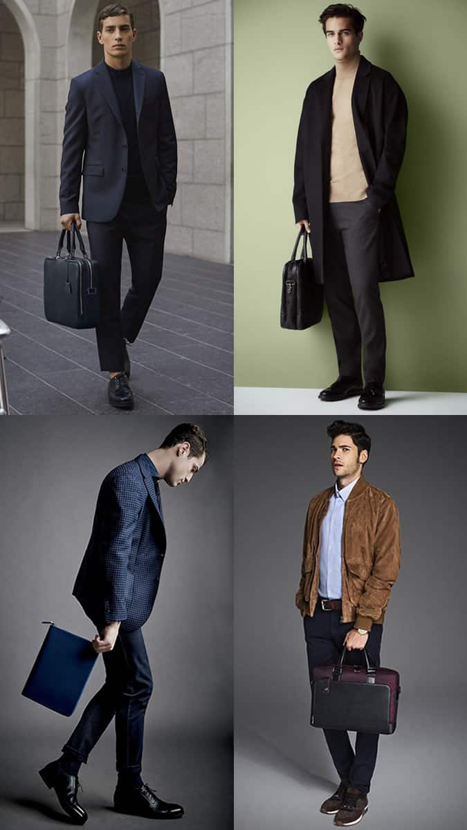 Men's Soft Sided Briefcases and Document Holders Outfit Inspiration Lookbook - Autumn/Winter 2016 Accessory Trends