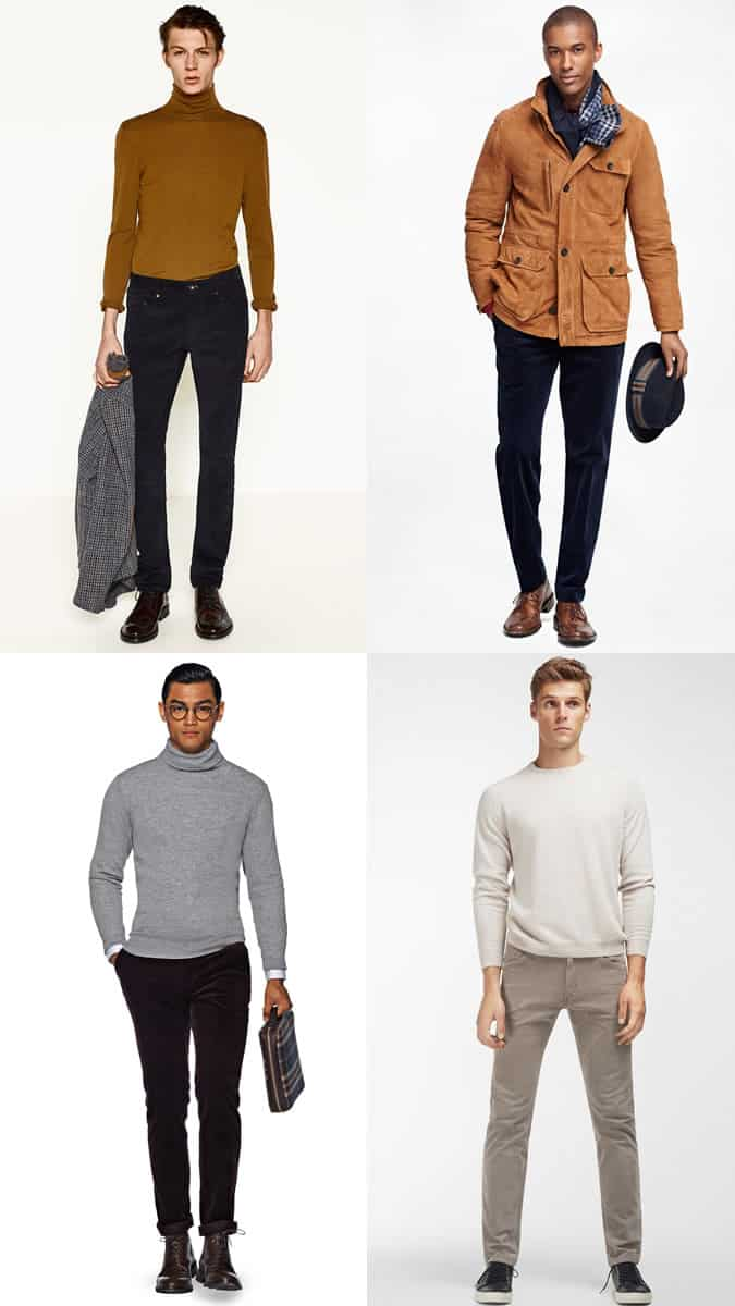 Men's Slim, Dark Corduroy Trousers Outfit Inspiration Lookbook For Autumn/Winter