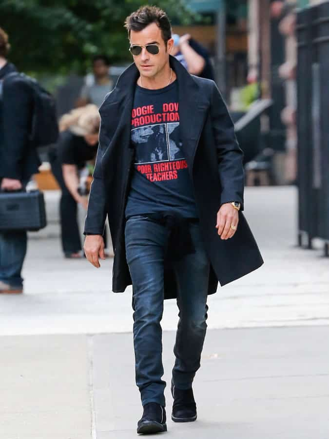 Justin Theroux Overcoat, Tee and Jeans