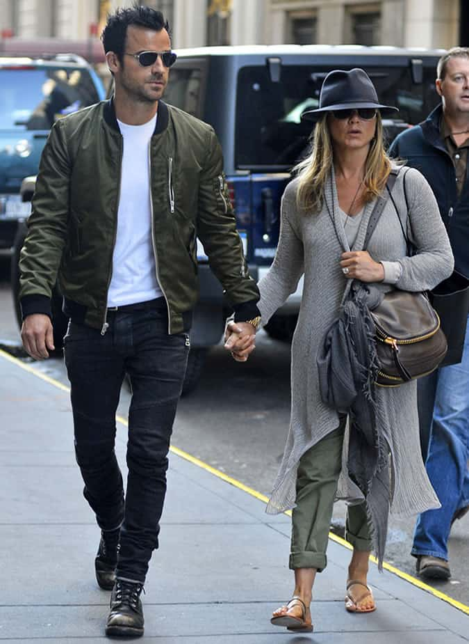 Justin Theroux bomber jacket outfit