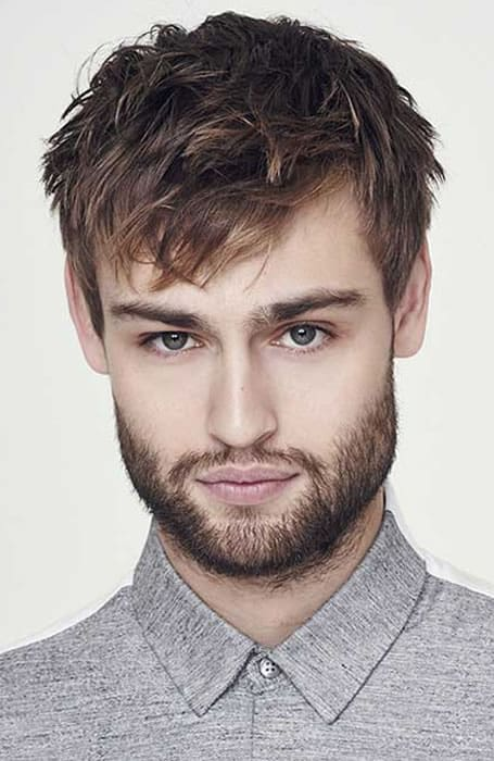 Men's Textured Angular Fringe Hairstyle