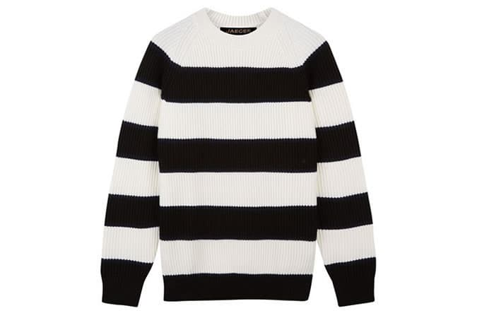 Jaeger Wool Wide Stripe Sweater