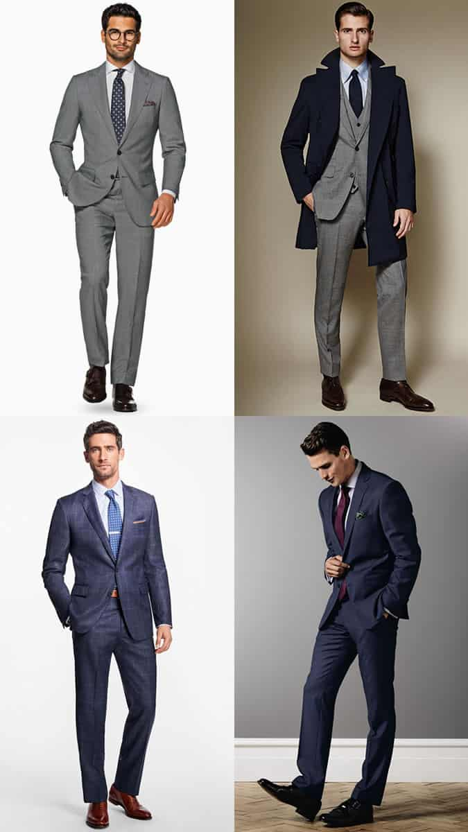 Men's Navy and Grey Classic Suits Outfit Inspiration Lookbook