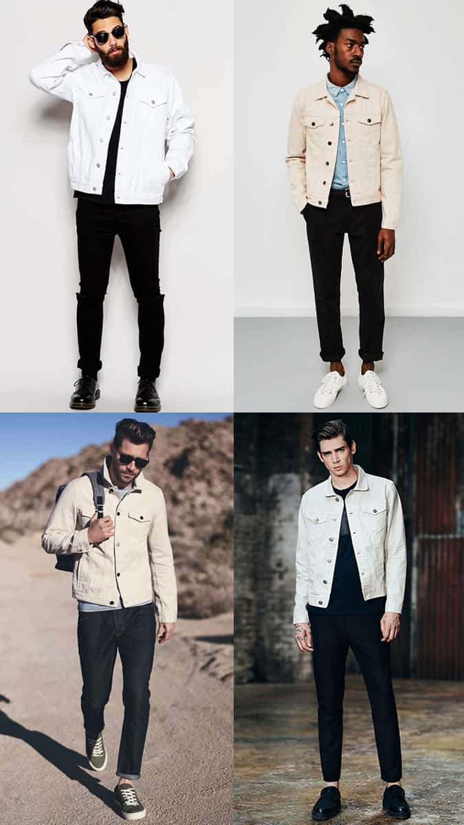 Black Jeans With White Denim Jacket Combinations