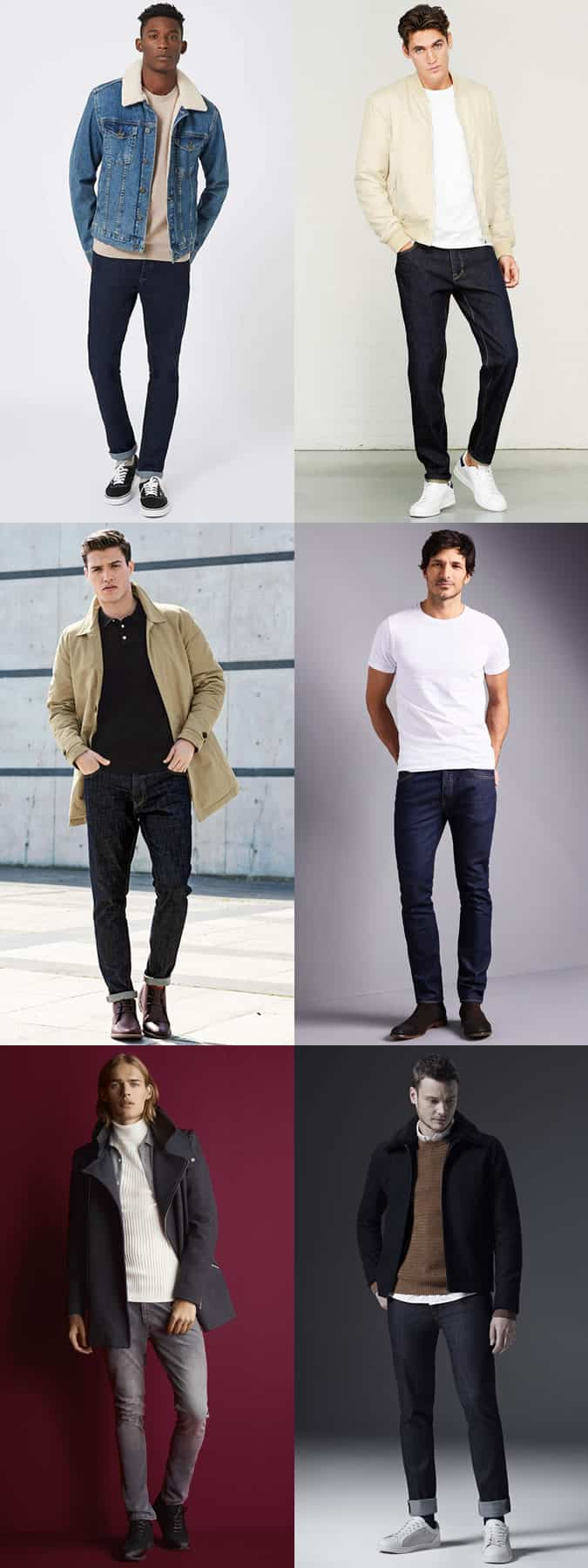 Men's Dark Wash Jeans Outfit Inspiration Lookbook
