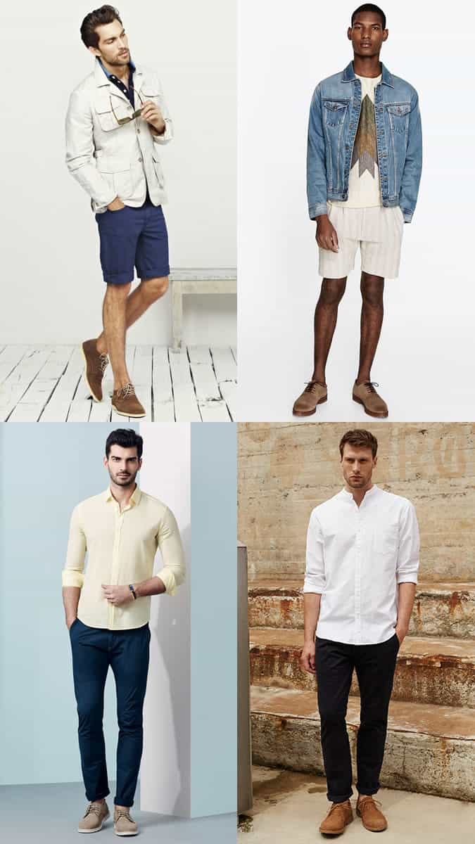 Men's Summer Suede Derbies/Shoes Outfit Inspiration Lookbook