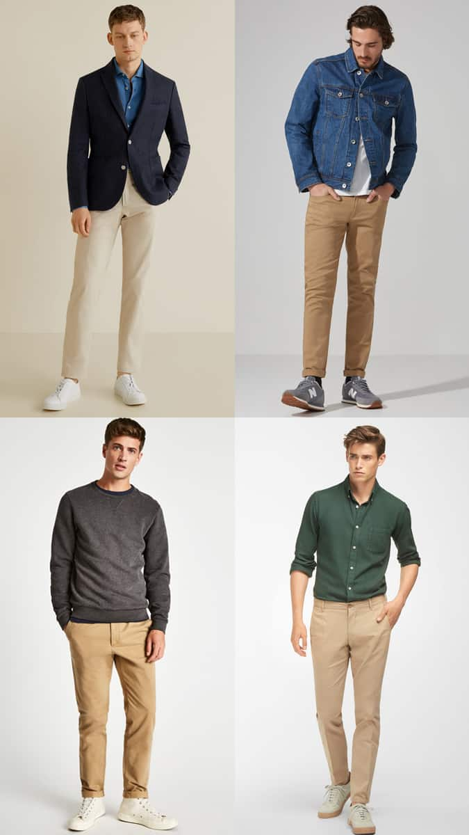 Men's Beige Chinos Outfit Inspiration Lookbook