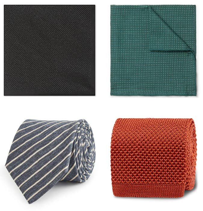 Men's Textured Summer Pocket Squares and Ties