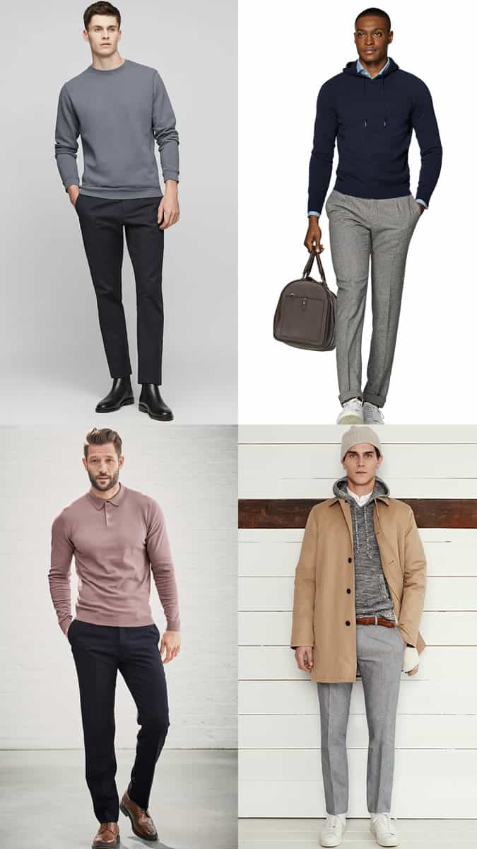 Men's high-low outfit combinations for business-casual offices