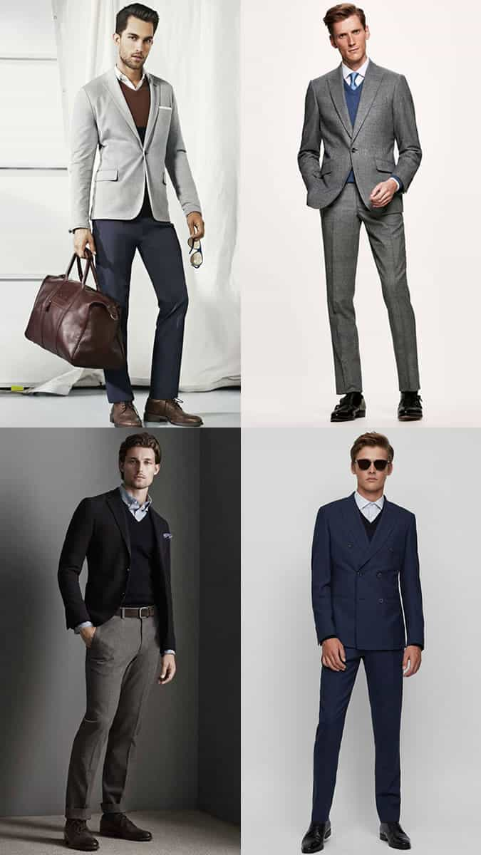 How to wear a v-neck sweater/jumper with a suit for work