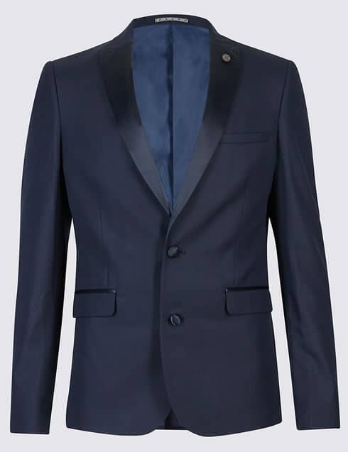 Navy Textured Modern Slim Fit Tuxedo Suit