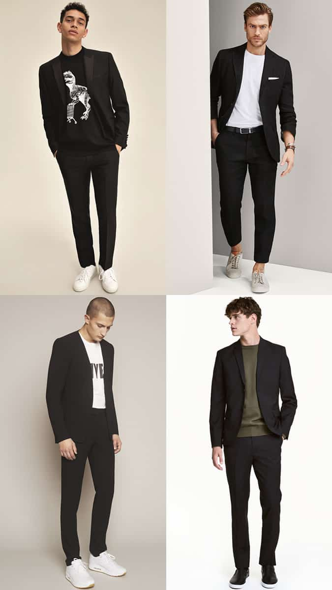 How To Wear T-Shirts And Trainers with a black suit